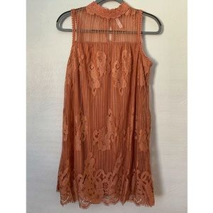 Dusty Rose Lace Shift Dress